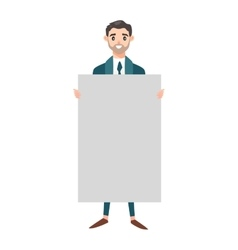 Business man hold banner vector image