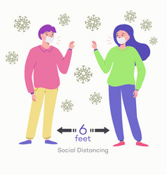 Businessman and woman keep distance away in the vector