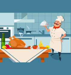 cartoon chef character holding silver dish in hand vector image