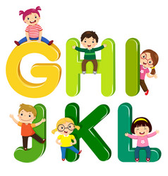 Cartoon kids with ghijkl letters vector