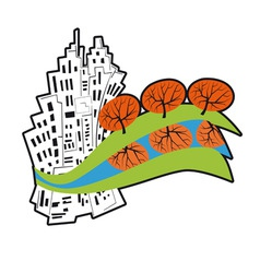 city surrounded by the rivers vector image