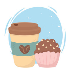 Coffee time disposable cup and sweet cupcake vector