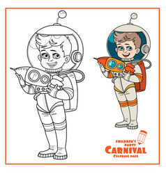 Cute boy in suit an astronaut with a rocket vector