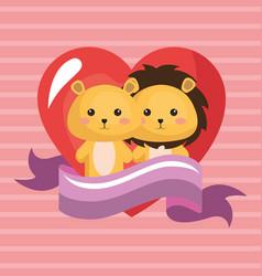 Cute lions couple kawaii birthday card vector