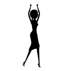 dancing woman silhouette lady in nightclub vector image