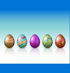 decorated easter eggs on a white background vector image