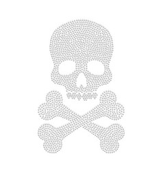 diamond skull white silhouette vector image