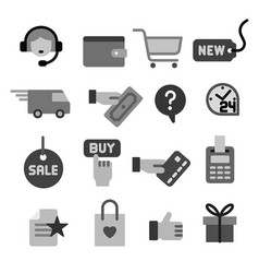 e-commerce shop gray icons vector image