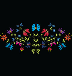 European Culture Inspired Folk Floral pattern vector image