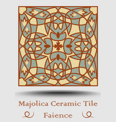 Faience ceramic tile vintage ceramic majolica in vector