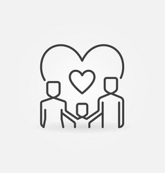 family with heart outline concept icon vector image
