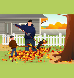 Father and son raking leaves in the yard during vector