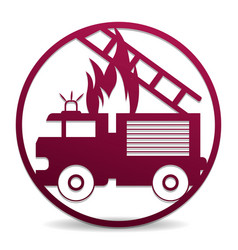 fire truck in a circle vector image