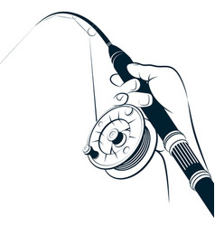 Fishing rod with reel in hand vector