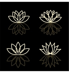 floral icons and logo design templates vector image