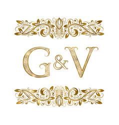 g and v vintage initials logo symbol vector image