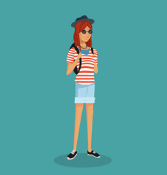 girl hipster teen stripes tshirt sunglasses vector image