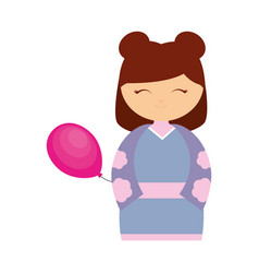 girl japanese comic balloon decoration vector image