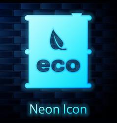glowing neon bio fuel barrel icon isolated on vector image