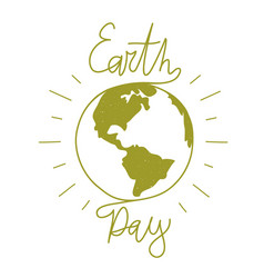 green 22 april earth day print design with globe vector image