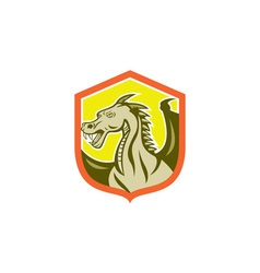 Green dragon head shield cartoon vector