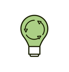 green light bulb environment ecology line and fill vector image