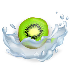 green slice of kiwi fruit in water splash closeup vector image