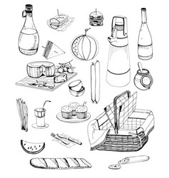 hand drawn picnic items set collection vector image