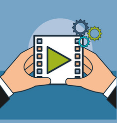 hands with video player digital marketing vector image