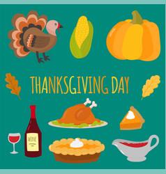 Happy thanksgiving day symbols design holiday vector