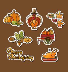 Happy thanksgiving stickers cartoon turkey vector
