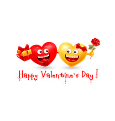 happy valentines day with couple enamored hearts vector image