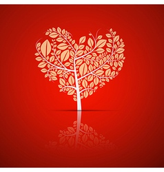 heart shaped tree with green leaves vector image