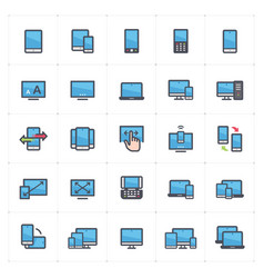 Icon set - device and responsive full color vector