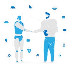 iot concept with people and robot vector image