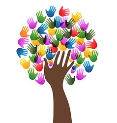 Isolated diversity hands tree background vector image
