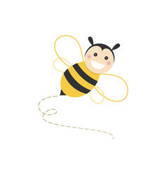 Isolated haapy bee flying on a white background vector