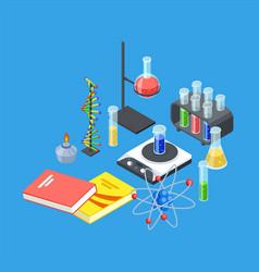 isometric chemistry equipment test tubes vector image