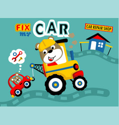 Little animals cartoon with vehicles vector