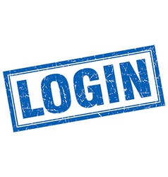 Login blue square grunge stamp on white vector