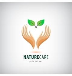 Logo - hands holding leaves eco icon vector