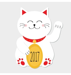 Lucky cat sitting and holding golden coin 2017 vector