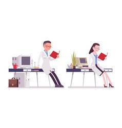 Male and female scientist working vector