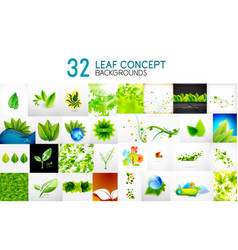 Mega collection of green concepts leaf vector