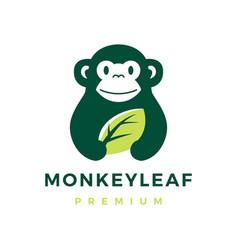 monkey leaf logo icon vector image
