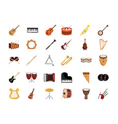 Musical instruments string wind percussion icon vector