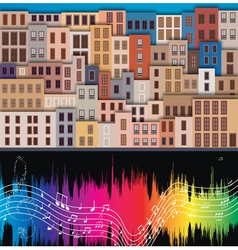 Old city and musical notes vector
