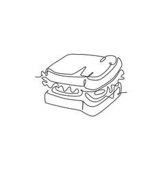 one single line drawing fresh sandwich logo vector image