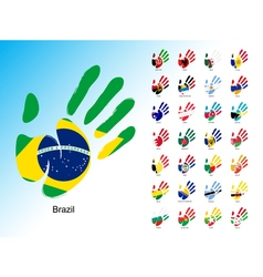 Open human handprint with national flag inside vector