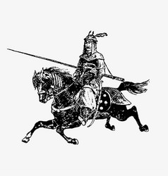 Oriental army general on a horse vector